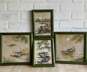 Set Of 4 Vintage Japanese Watercolor Paintings, Fishing Boats In Water, Framed