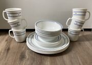 Service For 6 Vintage Retired Corelle Country Hearts Dinnerware 24 Piece Set
