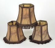Set Of 3 X Antique Vellum Skin Lamp Shades Or Ceiling Chandelier Light Shades