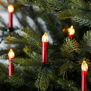 50 Warm White Led Red Flameless Christmas Candle Indoor String Lights With Tree