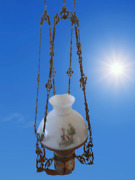 Antique Victorian Hanging Oil Lamp Chandelier Hand Painted Glass Shade