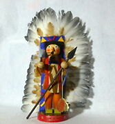 Vintage Germany Steinbach 14 Indian Chief Sitting Bull Wood Incense Smoker 7
