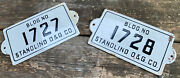 Pair Of Antique Stanolind Oil And Gas Porcelain Signs - Bldg No 1727 And 1728
