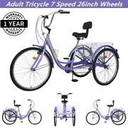 Adult Tricycle 26and039and039 7 Speed 3 Wheels Bicycle Cruise Trike Purple W/ Basketandtools