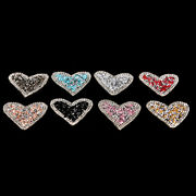 Bling Rhinestones Love Heart Embroidered Patch Iron On Sewingcrystal Applique C❤