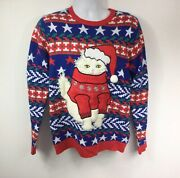 Jolly Sweaters Ugly Christmas Sweater Menandrsquos Size M Santa 3d Cat Fuzzy