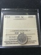 1890 Iccs Graded Newfoundland Small Silver Andcent5 Cent Au-55