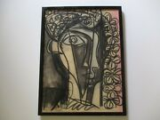 Mid Century Drawing Picasso Style Cubist Cubism Face Head Signed Mystery Artist