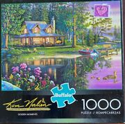 Golden Moments Complete 1000pc Puzzle 27x20 Cabin Mallards Flowers Dock