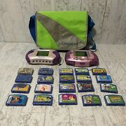 Leap Frog Leapster 2 Bundle Handheld Learning Systems 2 W/20 Games And Bag