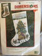 Vintage Dimensions Teddy's Gift 16 Christmas Stocking Crewel Embroidery Kit