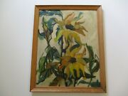 Antique Vintage Painting Impressionism American Wpa Style Flower Impressionist