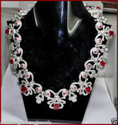 925 Silver Rose Cut Diamond Ruby Necklace Set Victorian Antique Look Jewelry
