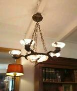 Beautiful French Art Nouveau Bronze Figures And Alabaster Chandelier