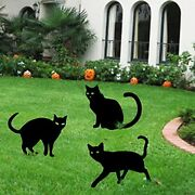 Halloween Yard Signs Stakes Outdoor Decorations - 3pcs Black Cat Lawn