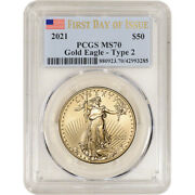 2021 American Gold Eagle Type 2 1 Oz 50 - Pcgs Ms70 First Day Of Issue