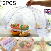 2x Collapsible Mesh Food Cake Cover Dome Plate Umbrella Kitchen Bbq Uk Stock