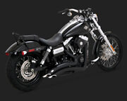 Harley Vance And Hines Big Radius Black Dyna 06-17 Exhaust 2 In 2 System