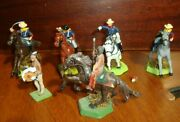 6 Original Lead Toy Soldier Figurines Wild Far West The Frontier W/5 Horses