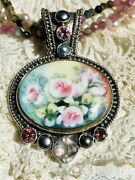 Echo Of The Dreamer-mars And Valentine Vintage Hand Painted Porcelain Necklace.