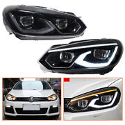 For Vw Golf 6 Headlamps Hid Projector Led Drl Replace Oem Halogen 2010-2013