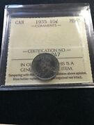 1935 Iccs Graded Canadian Andcent10 Cent Ms-65