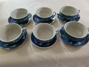 Vintage Blue Willow Porcelain Child Dishes 6 Tea Cups And 6 Saucers