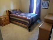 Solid Oak Bedroom Set- Sleigh Bed 2 Night Stands Dresser With Full Size Mirror