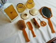 Vintage Art Deco Celluloid And Glass Or Plexi Pearlized 10 Pc Vanity Dresser Set