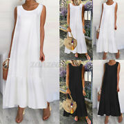 Womens Sleeveless Long Dress Holiday Beach Ladies Casual Baggy Dresses Oversized
