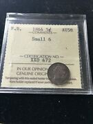 1864 Small 6 Iccs Graded New Brunswick Silver Andcent5 Cent Au-58