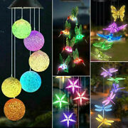 Led Color Changing Solar Wind Chimes Lights Hanging Hummingbird Ball Garden Lamp