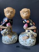 Pair Chinese Porcelain Monkey Holding Peach Figurines Qing Dynasty-manner Mark