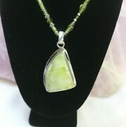 925 Lime Green Healerite Pendant On Stone Necklace 47.6g 20/24.5 W/ P