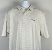 Bacardi Rum Embroidered Golf Polo Shirt Mens Xl Striped Polyester Blend