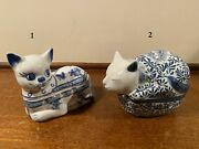 2 Blue And White Porcelain Cat Shaped Trinket Boxes Figurines Hand Painted Kitty
