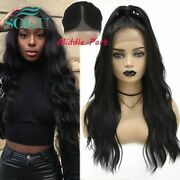 Synthetic Lace Front Wig Long Wavy Wigs With Baby Hair Middle Part Hair Ombre