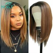 Synthetic Lace Front Wig Brown Straight Hair Wigs Free Part Wig With Baby Hair