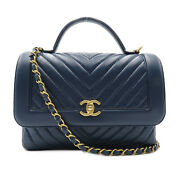 V-stitch Top Handle Chain Shoulder Bag Ghw Leather Navy Used Women Cc...