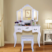 Tri Folding Mirror Vanity Dressing Table Set With Cushioned Stool And 5 Drawers Us