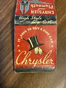 03 Vintage Matchbook Cover Chrysler And Plymouth