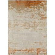Transitional Area Rugs 50 Viscose 50 Wool Hand Knotted Low Pile For Home Deco