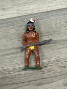 Barclay Lead Toy Soldier Indian With Rifle, B-047, Manoil Grey Iron Parts