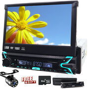 7 Single 1din Car Radio Player Flip Out Aux Stereo Touch Screen Dvd Cd Camera