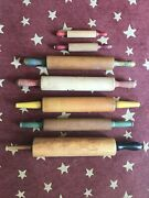 Antique And Vintage Mix Lot Of 7 Wood Rolling Pins