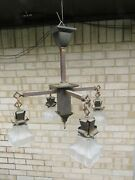Ca 1915 Arts Crafts Mission Mazda Ceiling Light Fixture Chandelier W/shades 3