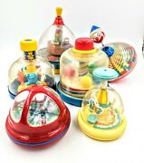 Vintage Antique Spinners Spinning Lot Toys Tops Tomy Tolo Playskool German More