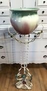 Vintage French White Metal Jardiniere Plant Stand Painted Flowers And Jardiniere