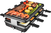 Indoor Electric Raclette Table Bbq Grill Black 1200w Easy To Use Clean Smokeless