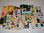 Vintage Junk Drawer Mixed Lot - Over 160 Items - Military Sports Photos Pins Etc